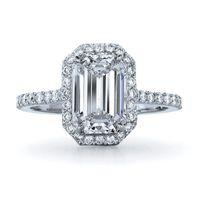 smaragd geschliffene diamanten verlobungsringe großhandel-Erstaunlich 1Carat Smaragd-Schnitt Synthetische Diamant-Verlobungsring echter fester Sterlingsilber-Ring