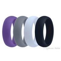 Wholesale Ring Comfortable - Silicone Wedding Band Anniversary Birthday Father's Day Gift Ring Multicolor Comfortable Design Wedding Ring for Man Wholesale