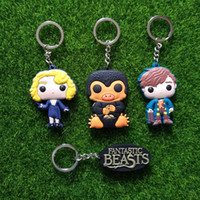 Wholesale Key Ring Findings - FB Fantastic Beasts and Where to Find Keychains Plastic LOGO NS Newt Scamander Niffler Keychain Key Chains Key Ring Women Men Jewelry 170705