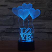 Wholesale Visual Lighting - 3D Visual Bulb Optical Illusion Colorful LED Table Lamp Touch Romantic Holiday Night Light Love Heart Wedding Gifts
