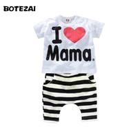 Wholesale Love Mama Papa Pants - Wholesale- Retail 1set! 2015 Children Clothing Summer Set boys girls I Love Papa and Mama short sleeve t-shirt+pants suit kids pajamas set