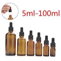 aromaterapi amber kadeh şişeleri toptan satış-Amber Cam Sıvı Reaktif Pipet Şişeleri Damlalık Aromaterapi 5 ml-100 ml Uçucu Yağlar Parfüm şişeleri toptan ücretsiz DHL