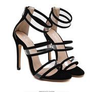 Wholesale Transparent Party Wear Women - Milan fashion show black ankle strap clear transparent high heel sandals party club wear size 35 to 40