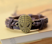 Wholesale Halloween Bracelet Spider - Movie Hero spider-man Charm Bracelets Men Jewelry Genuine Leather Bracelets for Women Gifts TV Cartoon 100% New men bracelets