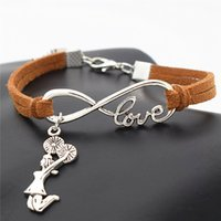 Vente en gros- Antique Silver Infinity Love Cheerleader Cheer Girls Charms Bracelet en cuir Wrap Cheer Team Cheering Bracelets uniques pour femmes