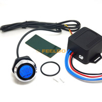 Wholesale Start Button Light - FEELDO One-key Engine Start Button Switch Set For Car Auto Refitting With Blue Indicator Light #4204