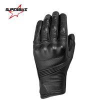 Wholesale Motorbike Glove S - Wholesale- Motorcycle Gloves Touch Screen Men Goatskin Leather Glove Cycling Racing Full Finger Motorbike Moto Bicycle Bike Motocross Luvas