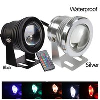 Wholesale Wall Aquariums - 10W Waterproof RGB Led Floodlight DC12V Underwater Swimming Pool Lights Led aquarium lamp Underwater Spotlights + 24Keys IR Remote Control