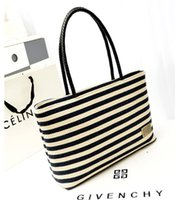 Wholesale Ladies Canvas Shoulder Bag Sale - Hot Sale Casual Women's Handbags Large Capacity Shoulder Tote bags Striped Canvas Bags for Lady free shipping