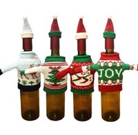 Wholesale Knitted Bottle Cover - Christmas Knit Sweater Hat Wine Bottle Cover set Snowman Reindeer XMAS Tree Bottle Covers Holiday Event Gift Wrap Decorations