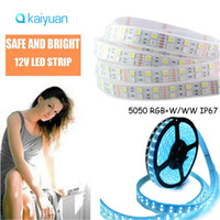 Wholesale Double Rows Waterproof Led Strip - DC 12V 24V SMD 5050 RGBW white flexible LED strip,Double row 120 LEDs meter,IP67 waterproof RGBW 600LED LED strip light,tape LIGHTING