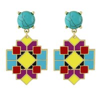 Wholesale Coral Drop Earrings - Bohemian Earrings Cheap Jewelry Colorful Enamel Square Geometric Blue Stone Big Drop Women Earrings