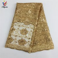 Wholesale Sequin Embroider Fabric - African Laces Fabric Embroidered African Guipure Lace Fabric With Sequins 2017 Gold African French Net Lace Fabrics #2214-1