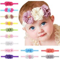Wholesale Three Band Pearl Headband - Free shipping Three handmade pearl diamond chiffon flower baby hair belt burst baby hair band hot TG082 mix order 30 pieces a lot