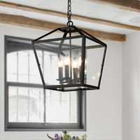 10 ~ 15sq.m black foyer pendant light - Retro Pendant Light Industrial Black Iron Cage Chandeliers light Foyer Hanging Lantern Glass Pendant Lamp Living Room Dining Room Bar Lamp