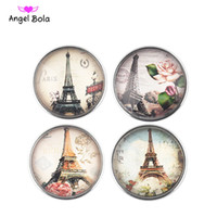 Wholesale Glass Eiffel Towers - Angel bola Noosa Snap Button 18MM Eiffel Tower glass Ginger Snap Chunk Charm Button Interchangtable Diy Jewelry Noosa Button For Noosa Brace