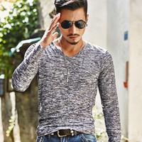 Wholesale Korean Slim Fit Shirts Brand - Hot 2017 New Arrival Spring Autumn Fashion Brand V-Neck Slim Fit Long Sleeve TShirt Men Trend Casual Men T-Shirt Korean T Shirts