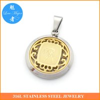 Wholesale Libra Pendant Gold - Zodiac Libra Stainless Steel Pendant Gold Plated Fashion Jewelry Hollow Box Classic Design For Man and Women