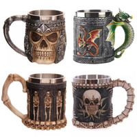 Wholesale skull mugs - Wholesale- 8pcs Horror 3D Skull Stainless Steel Wine glasses gilf Whiskey Cup Party Drinking Skeleton Claw Beer Steins Dragon Gothic Mug