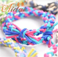 Wholesale Color Braided Elastic Band - Colorful bold six stocks braid three color elastic collision color weaving hair bands 13 clors