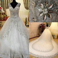 UK wedding dress sweetheart beading real - Luxury Bling Wedding Dresses Classic Style Sweetheart Neck Sheer Straps Shiny Tulle Lace Trimmed Rhinestones Cathedral Train Bridal Gowns
