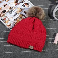 Wholesale Wholesale Women S Fashion Beanies - Pom Poms Winter Ball Cap Pom Poms Winter Hat For Women Girl 's Hat Knitted Beanies Caps thick Female cap