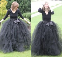 siyah tutu kadınlar toptan satış-Kadınlar Için ucuz Gri Siyah Balo Tül Etekler Kat Uzunluk Ruffles Uzun Maxi Etek Tutu Örgün Parti Etekler