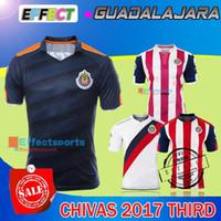 Wholesale Dark Green Jersey - 2017 Chivas de Guadalajara third Dark blue soccer jersey thai quality 2017-2018 Chivas de Guadalajara third Navy blue soccer football shirts