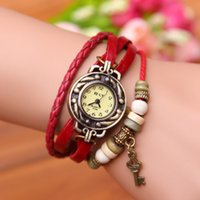 Wholesale Wholesale Shark Watches - South Korean foreign trade fashion leather wrapped Bracelet Watch Bracelet Watch Ms. table student leaves vintage watches accessories