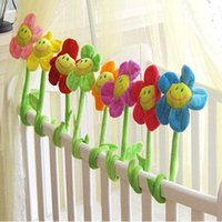 Wholesale Toys For Baby Crib - Wholesale-DIY Creative Plush Flowers for Baby Crib Room Decoration Bright Button flower flowers Toys