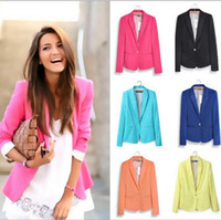 Wholesale Ladies Office Short Coat - Women's Blazer Suit Ladies Buniness Coats Winter Fashion Jacket Office OL Cardigan Slim Tops Casual Blouse Formal Vestidos Clothing B2494