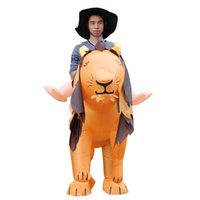 Wholesale Inflatable Adult Fancy Dress Costumes - Free Shipping Adult Size Inflatable Costume Lion Ride on Toy Carry on Animal Halloween Party Blow Up Inflatable Suit Fancy Dress