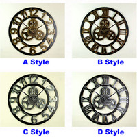 Wholesale Vintage Ship Decor - 4 Style Vintage Hollow Gear Round Clock Creative Home Living Room Bedroom Decor Wall Clocks Free Shipping HH7-184