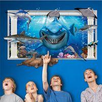 Wholesale Blue Movie Wallpaper - 60*90cm 3D Shark GWall Stickers DIY Art Decal Removeable Wallpaper Mural Sticker for Kids Room KinderGarten AY9262 XH9266 XH9265 XL8126
