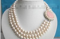 Wholesale Green Round Freshwater Pearls - 10mm 3row round white freshwater pearls necklace jade