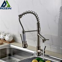 Wholesale single handle kitchen faucet chrome for sale - Luxury Chrome Nickel Double Spout Pull Down Kitchen Sink Faucet Single Handle Brass Kitchen Mixer Taps
