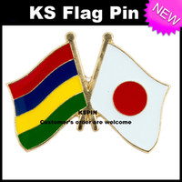 Wholesale Friendship Flag Pins - MAURITIUS Japan Friendship Flag Badge Flag Pin 10pcs a lot Free shipping 0003