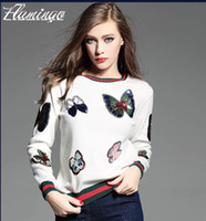 Wholesale Knit Butterfly - Women Sweater Bling Bling Sequin Patch Pullover Fashion Butterfly Knitted Cashmere Jumper Female Appliques Jacket Coat Tops