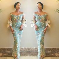 flores de tecido africano venda por atacado-Flores únicas Tecido Prom Vestidos Sul Africano Fora Do Ombro Vestidos de Noite Mangas Puras Sereia Plus Size Vestido de Festa Formal