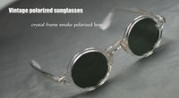 Wholesale Vintage Sunglasses Depp - Retro Vintage 1960's Depp Polarized Sunglasses Round Crystal Frame Smoke Polarized lens UV UVB Protection Sun Glasses 2017 High Quality