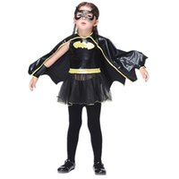 Wholesale Wristbands For Boys - Girls bat cosplay dress 4pc sets mask+vest dress+cape+wristband kids holloween Xmas party cosplay costume performance clothing for 3-9T