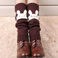 Wholesale Rabbit Topper - Wholesale- 1pair Fashion Women Thick Leg Warmers Knit Boot Cuffs Cute Rabbit bear Boot Socks Ladies Winter Boot Warmers Toppers