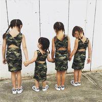 Wholesale Camouflage Girl Clothing - 2017 Baby Girls Camouflage Dresses Kids Girls Fashion Backless Dress Babies Summer Vest Dress Childrens clothing