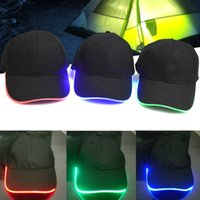Wholesale Baseball Caps Led Lights - Wholesale- Night Fishing Light Baseball Flash Dance Glow In The Dark Hip Hop Fashion Sport Fitted Hat Led Cap for Unisex Shop 88 J