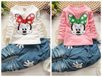 Wholesale Denim Trousers Shirt Fashion - fashion Spring Autumn Children Clothing 2PCS Sets Girls Mickey Minnie Mouse Tshirts Tops Suspender Pants Set Kids Tee Shirt Trouser jeans