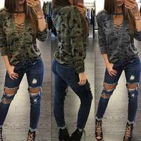Wholesale Low Cut V Neck Shirts - 2017 Women's Fashion Straps Low-Cut Print Pullover Hollow Out Sexy Lace up Long Sleeve camouflage T-shirts