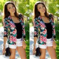 Wholesale Baseball Jacket Lined - Wholesale- Plus Size WomenSpring Autumn Floral Jacket No Lining Baseball Uniform Women Ditsy Print Cardigan Outwear jaqueta femininas