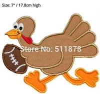 """Wholesale Iron Patches Football - 7"""" Large Turkey Football Player Thanksgiving Applique Embroideried Uniform Movie TV Costume Cosplay Embroidered iron on patch"""