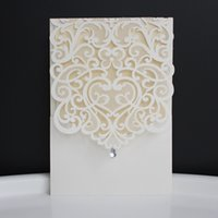 Wholesale Invitations Wedding Invite Cards - Rhinestone Wedding Invitation Evening Invite Laser Cut Invitaion Card White Wedding Card With Inner Card Envelop.