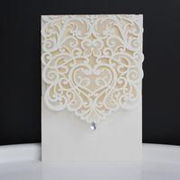 Wholesale Evening Fold - Rhinestone Wedding Invitation Evening Invite Laser Cut Invitaion Card White Wedding Card With Inner Card Envelop.